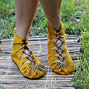 Обувь ручной работы handmade. Livemaster - original item Moccasin in suede with mustard. Handmade.
