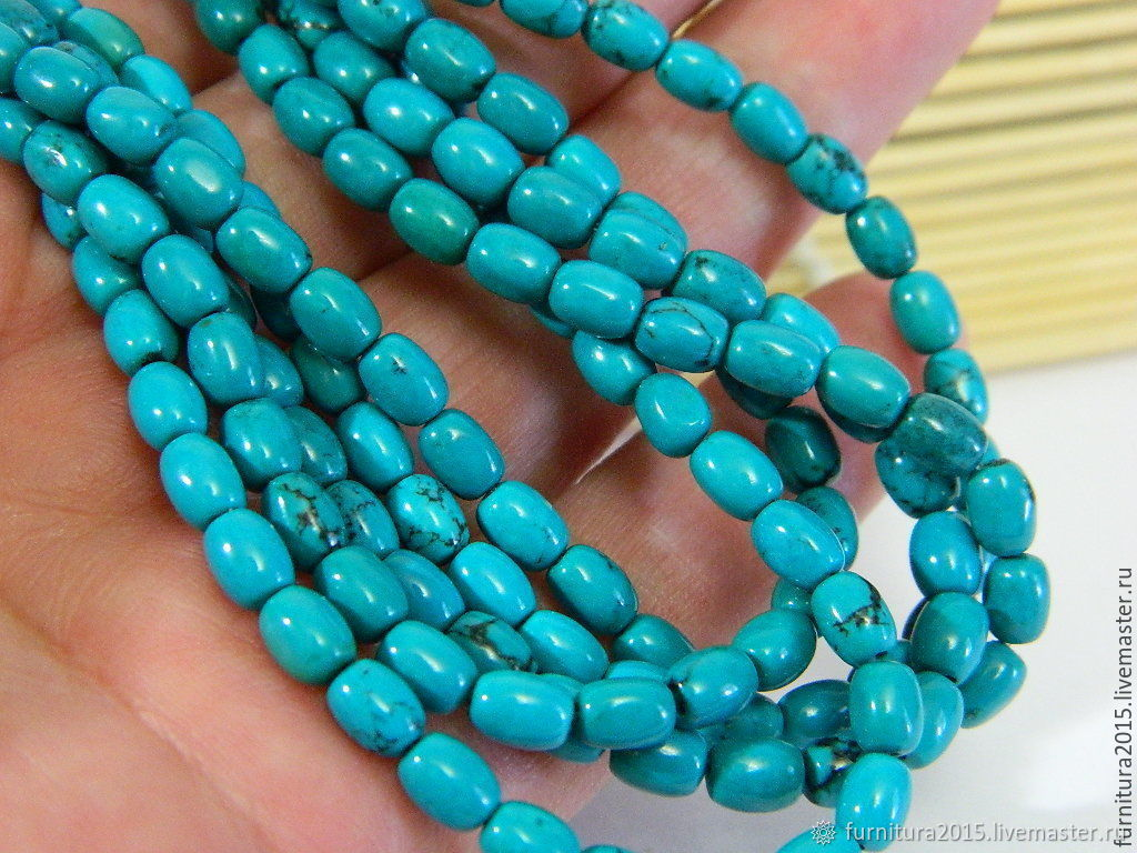 Turquoise tinted, 6 x 4 mm. for PCs, Beads1, Saratov,  Фото №1