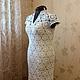 Платье `Черёмухи цвет` 56 размер ...моделирование выреза горловины и рукавчика...цена 19600 руб платье ажурное ручной работы, связано безотрывно (без боковых и плечевых швов),  длина 110см