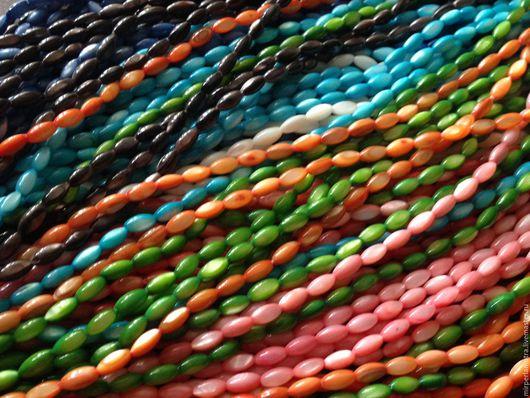 """Для украшений ручной работы. Ярмарка Мастеров - ручная работа. Купить Бусина """"Олива цветная"""" , перламутр. Handmade. Бусины"""