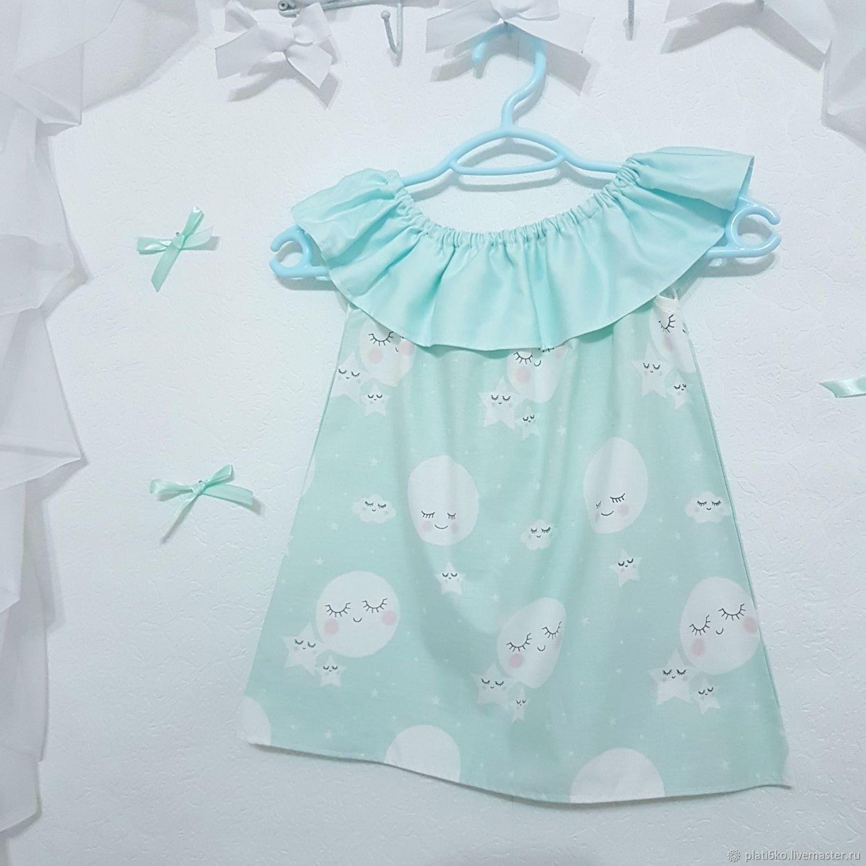"""Одежда для девочек, ручной работы. Ярмарка Мастеров - ручная работа. Купить Детское платье для девочки с воланом из хлопка """"Луна"""". Handmade."""