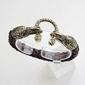 Украшения handmade. Livemaster - original item Raven bracelet made of genuine leather. Handmade.