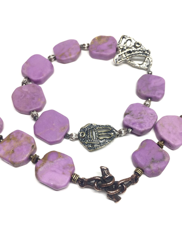 Orchid Color bracelet. Natural phosphosiderite, Anna Black fittings, Bead bracelet, Moscow,  Фото №1