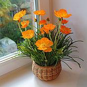 Цветы и флористика ручной работы. Ярмарка Мастеров - ручная работа Оранжевые маки в маленькой корзиночке. Handmade.