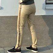Одежда handmade. Livemaster - original item Leather Beige Pants with Stripes. Handmade.