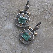 Украшения handmade. Livemaster - original item Earrings with emeralds, silver and goldfield. Handmade.