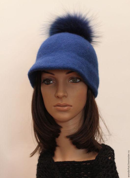 """Шляпы ручной работы. Ярмарка Мастеров - ручная работа. Купить Жокейка """"Индиго"""". Handmade. Тёмно-синий, шляпка с козырьком"""