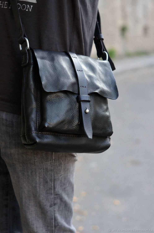 b8dfb441c48f Мужские сумки ручной работы. Ярмарка Мастеров - ручная работа. Купить  Небольшая чёрная сумка.