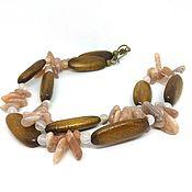 Украшения handmade. Livemaster - original item Necklace-necklace made of Sunstone and wooden beads. Handmade.
