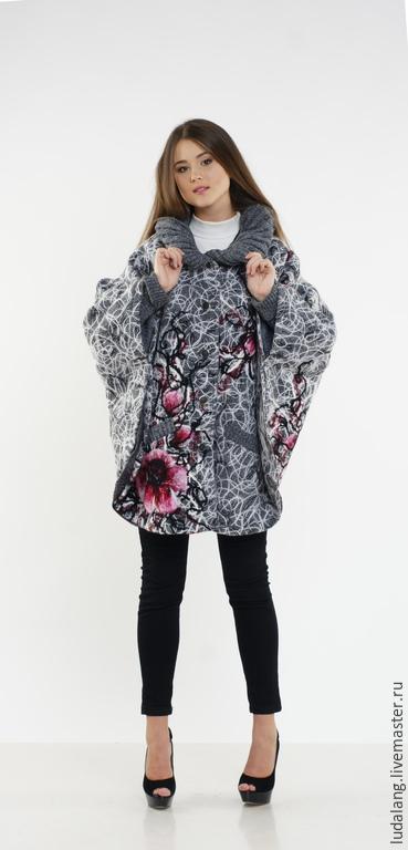 Верхняя одежда ручной работы. Ярмарка Мастеров - ручная работа. Купить Пальто-пончо Сакура. Handmade. Серый, модное пончо