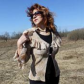 """Одежда ручной работы. Ярмарка Мастеров - ручная работа Жакет """"Загадочный беж"""" шёлковый - нуновойлок. Handmade."""