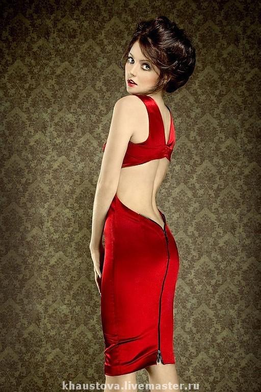 """Платья ручной работы. Ярмарка Мастеров - ручная работа. Купить """"Идеальное красное платье"""". Handmade. Красное платье, стрейч-атлас"""