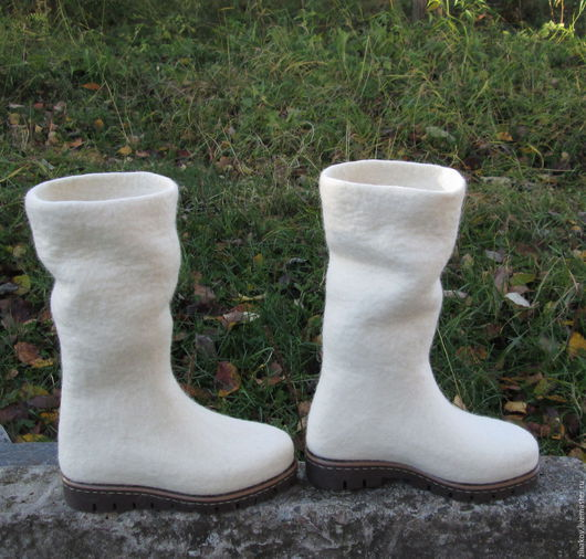 """Обувь ручной работы. Ярмарка Мастеров - ручная работа. Купить Валяные сапожки """"Lumisade"""". Handmade. Белый, сапожки зимние"""