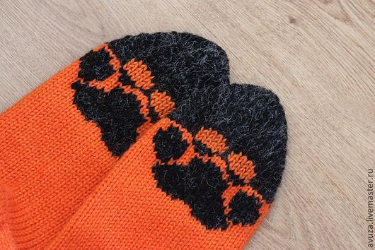 """Носки, Чулки ручной работы. Ярмарка Мастеров - ручная работа. Купить Носки шерстяные мужские """"Хищник"""". Handmade. Оранжевый, след"""