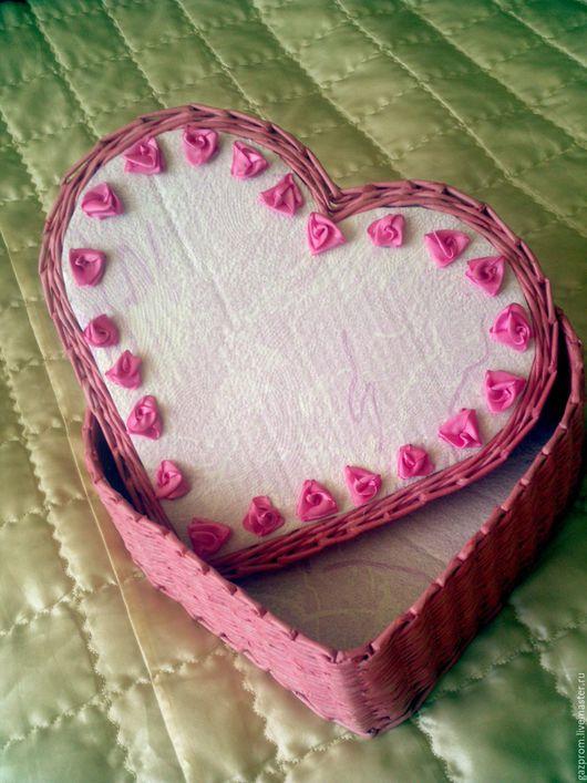Подарки для влюбленных ручной работы. Ярмарка Мастеров - ручная работа. Купить Шкатулка-сердце. Handmade. Шкатулка, плетеный, бледно-розовый