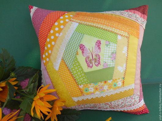 Текстиль, ковры ручной работы. Ярмарка Мастеров - ручная работа. Купить Подушка в технике крейзи-квилт. Handmade. Оранжевый, пэчворк