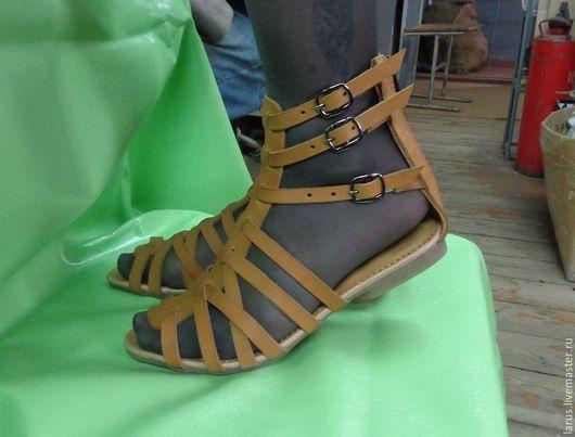 """Обувь ручной работы. Ярмарка Мастеров - ручная работа. Купить Женские босоножки """"Римлянки"""" короткие. Handmade. Бежевый, натуральная кожа"""