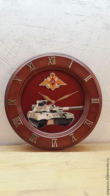 """Часы для дома ручной работы. Ярмарка Мастеров - ручная работа. Купить Часы настенные """"23 февраля"""". Handmade. Коричневый, подарок"""