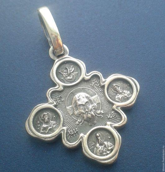 Кулон крест «Спас Нерукотворный. Казанская икона Божией Матери»