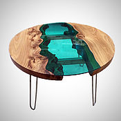 """Для дома и интерьера ручной работы. Ярмарка Мастеров - ручная работа Столик """"Река"""" зеленая. Handmade."""