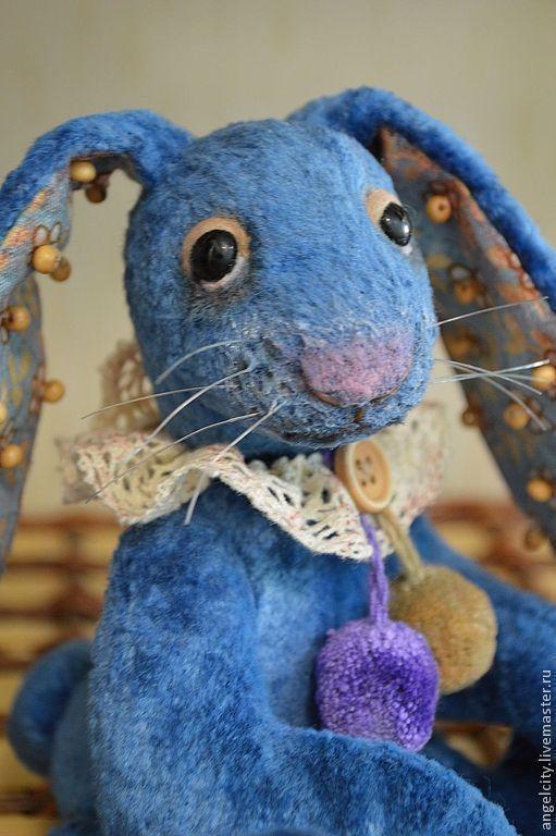 Мишки Тедди ручной работы. Ярмарка Мастеров - ручная работа. Купить Тедди зайка Лютик. Handmade. Синий, заяц