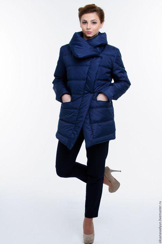Верхняя одежда ручной работы. Ярмарка Мастеров - ручная работа. Купить Пуховое пальто Asymmetrie. Handmade. Тёмно-синий, пальто