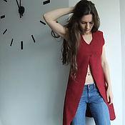 Одежда ручной работы. Ярмарка Мастеров - ручная работа Красный. Длинный. Жилет.. Handmade.