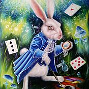 Pictures handmade. Livemaster - original item Oil painting White Rabbit - artist!. Handmade.