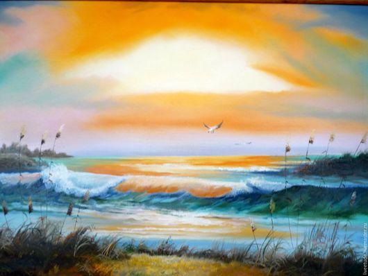 Ярмарка мастеров,Картина на заказ,картина маслом,пейзаж,вода,море Работа может быть выполнена на заказ,на холсте или оргалите.