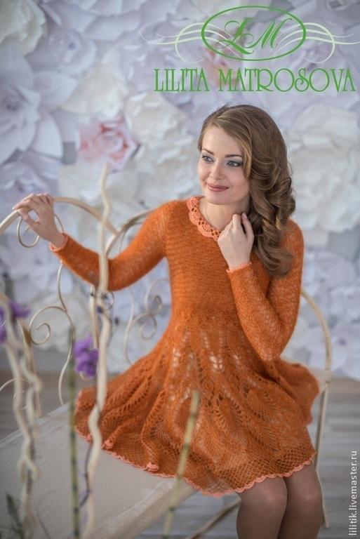 """Платья ручной работы. Ярмарка Мастеров - ручная работа. Купить """"Куколка"""". Handmade. Оранжевый, лилита матросова, шёлк"""