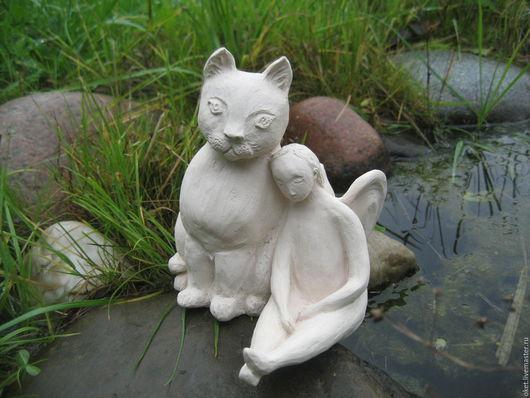 """Статуэтки ручной работы. Ярмарка Мастеров - ручная работа. Купить Статуэтка """"Ангел и Кот"""" керамическая. Handmade. Белый, спящий ангел"""