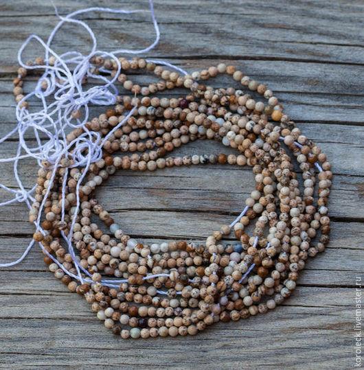Для украшений ручной работы. Ярмарка Мастеров - ручная работа. Купить Яшма песочная, бусины-шарики 2 мм, нить. Handmade.