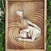 Картины и панно ручной работы. Ярмарка Мастеров - ручная работа Резное дерево_Двое_Страсть. Handmade.