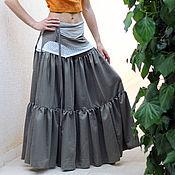 Одежда ручной работы. Ярмарка Мастеров - ручная работа Длинная юбка хаки Tribal Dance. Handmade.