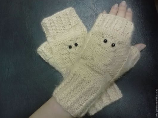 Варежки, митенки, перчатки ручной работы. Ярмарка Мастеров - ручная работа. Купить Вязаные митенки с совами. Handmade. Однотонный