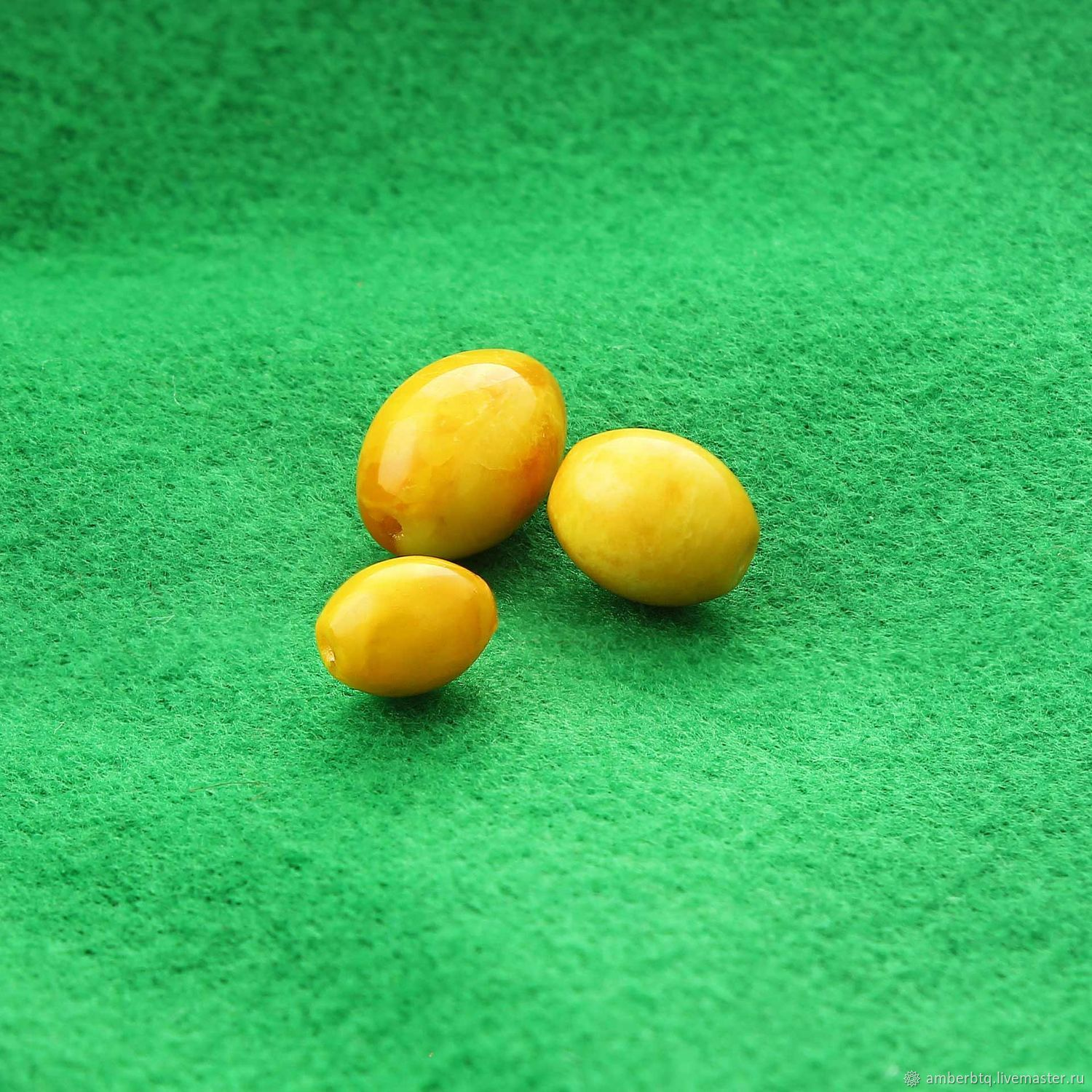 Olive-amber7h9mm-aged honey (antique) - Drilled - Real, Beads1, Kaliningrad,  Фото №1