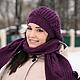 Шапка для девочки, шапка и шарф комплект, комплект вязанный, вязанный комплект, длинный шарф, шарф вязаный, шарф вязанный, шапочка для девочки.