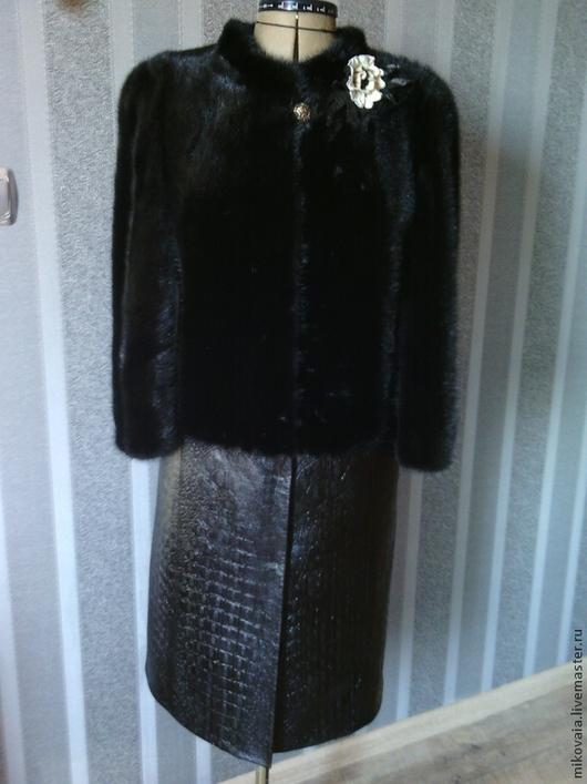 Верхняя одежда ручной работы. Ярмарка Мастеров - ручная работа. Купить Пальто из меха и кожи Шоколадный Микс. Handmade. Коричневый