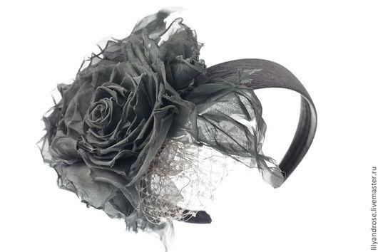 Диадемы, обручи ручной работы. Ярмарка Мастеров - ручная работа. Купить Ободок с шелковыми розами. Handmade. Серый, ободок с цветами