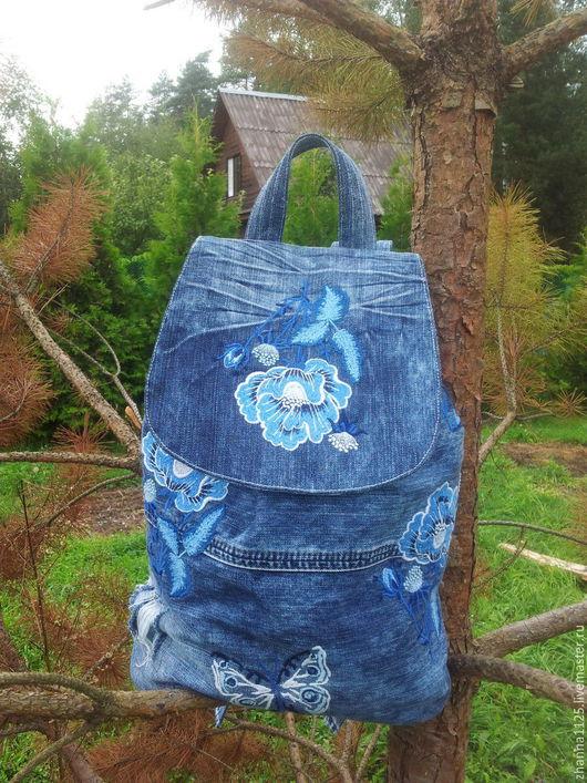 Джинсовый рюкзак в стиле бохо-шик `Голубые дали` с вышивкой. Автор ZhannaPetrakova Atelier Moscow.Рюкзаки ручной работы. Купить рюкзак с вышивкой. Женский рюкзак, handmade.