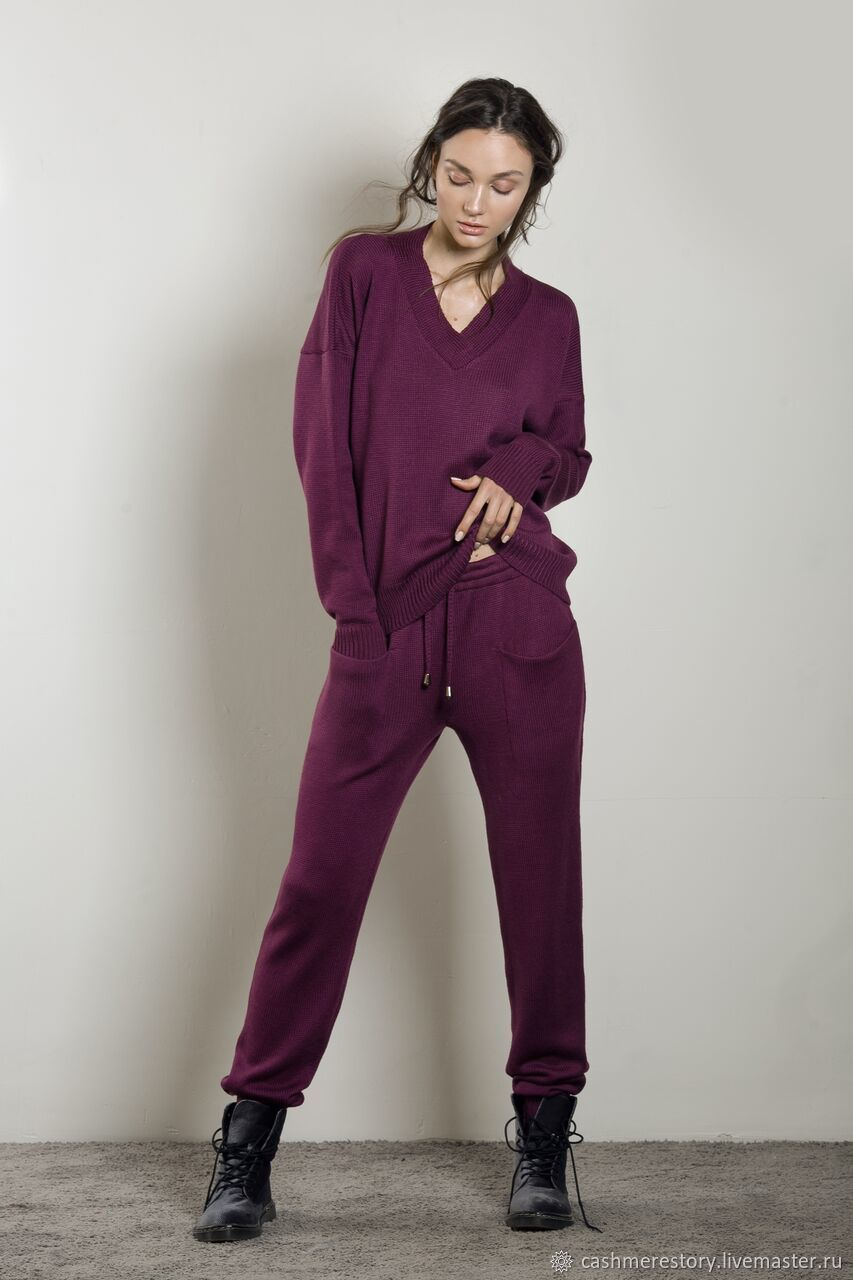 Women's knitted suit Wine bordo, Suits, Moscow,  Фото №1