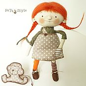 Куклы и игрушки handmade. Livemaster - original item Doll Pippi Redhead doll Textile collectible doll. Handmade.