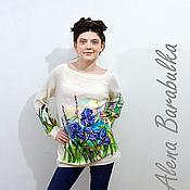 Одежда ручной работы. Ярмарка Мастеров - ручная работа Свитер с ирисами. Handmade.