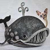 Для домашних животных, ручной работы. Ярмарка Мастеров - ручная работа Серый кит. Домик для домашних животных валяный шерстяной. Handmade.