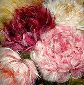 Картины и панно handmade. Livemaster - original item Picture of wool I`ll give You the peonies.... Handmade.