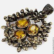 Beads1 handmade. Livemaster - original item Pendant with three citrines in yellow gold. Handmade.