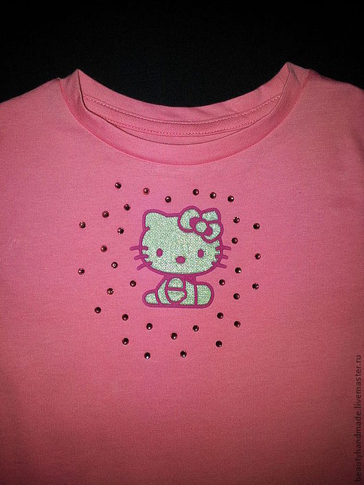 """Одежда для девочек, ручной работы. Ярмарка Мастеров - ручная работа. Купить Футболка """"Hello Kitty"""". Handmade. Розовый, одежда для девочек"""