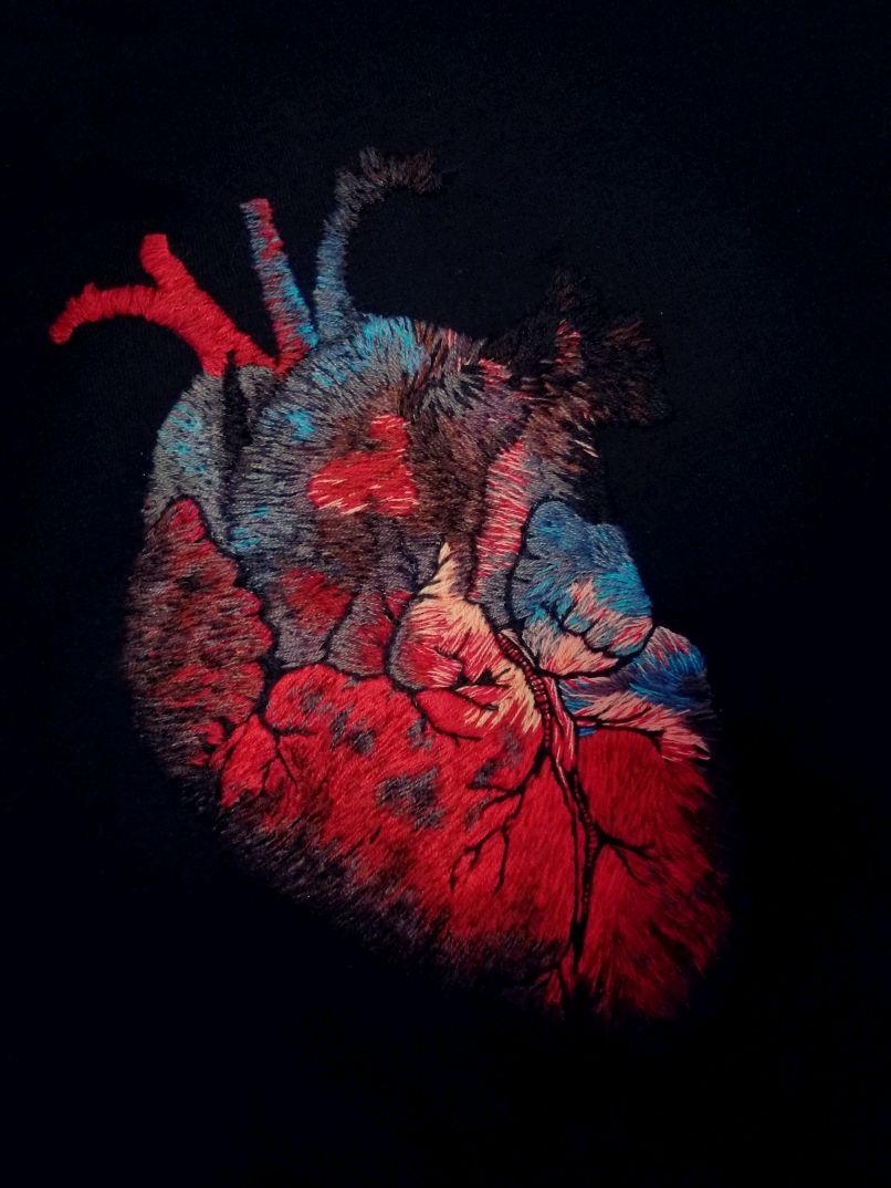Анатомическое сердце человека. Вышивка гладью на джемпере, Джемперы, Москва,  Фото №1