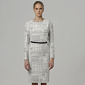 Одежда handmade. Livemaster - original item Dress business Rafaello warm white knit fluffy fur. Handmade.
