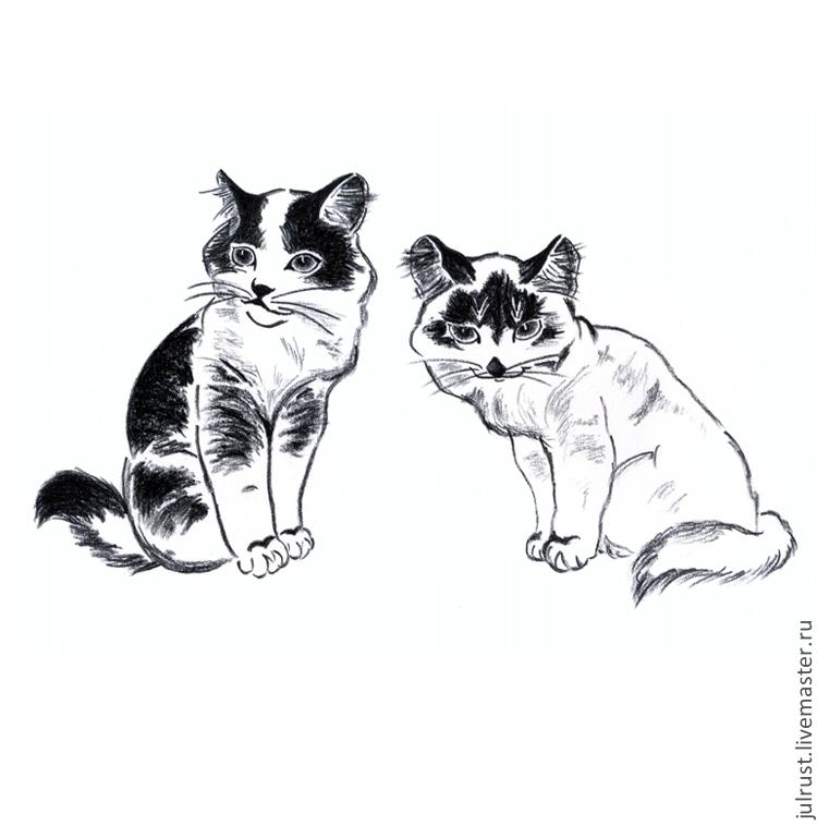 Кошка картинки рисунки черно-белые